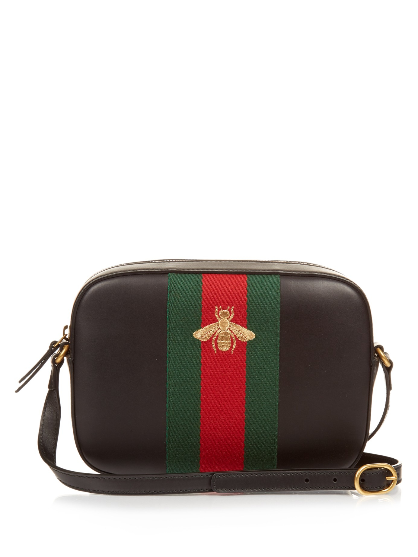 Lyst Gucci Line Bee Embroidered Leather Cross Body Bag