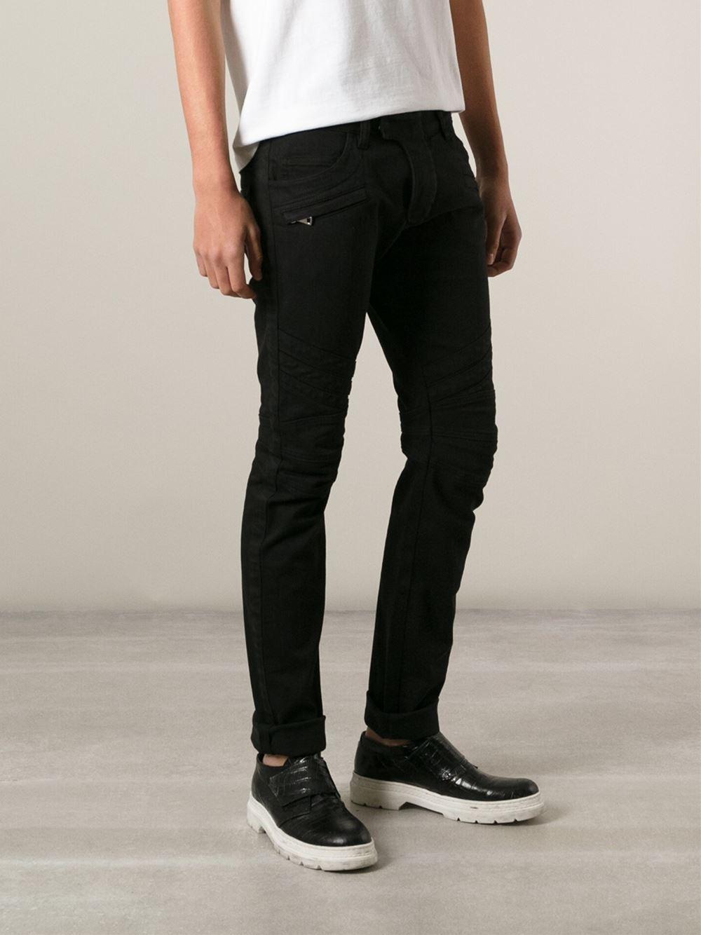 a378a48185a127 Balmain Skinny Biker Jeans in Black for Men - Lyst