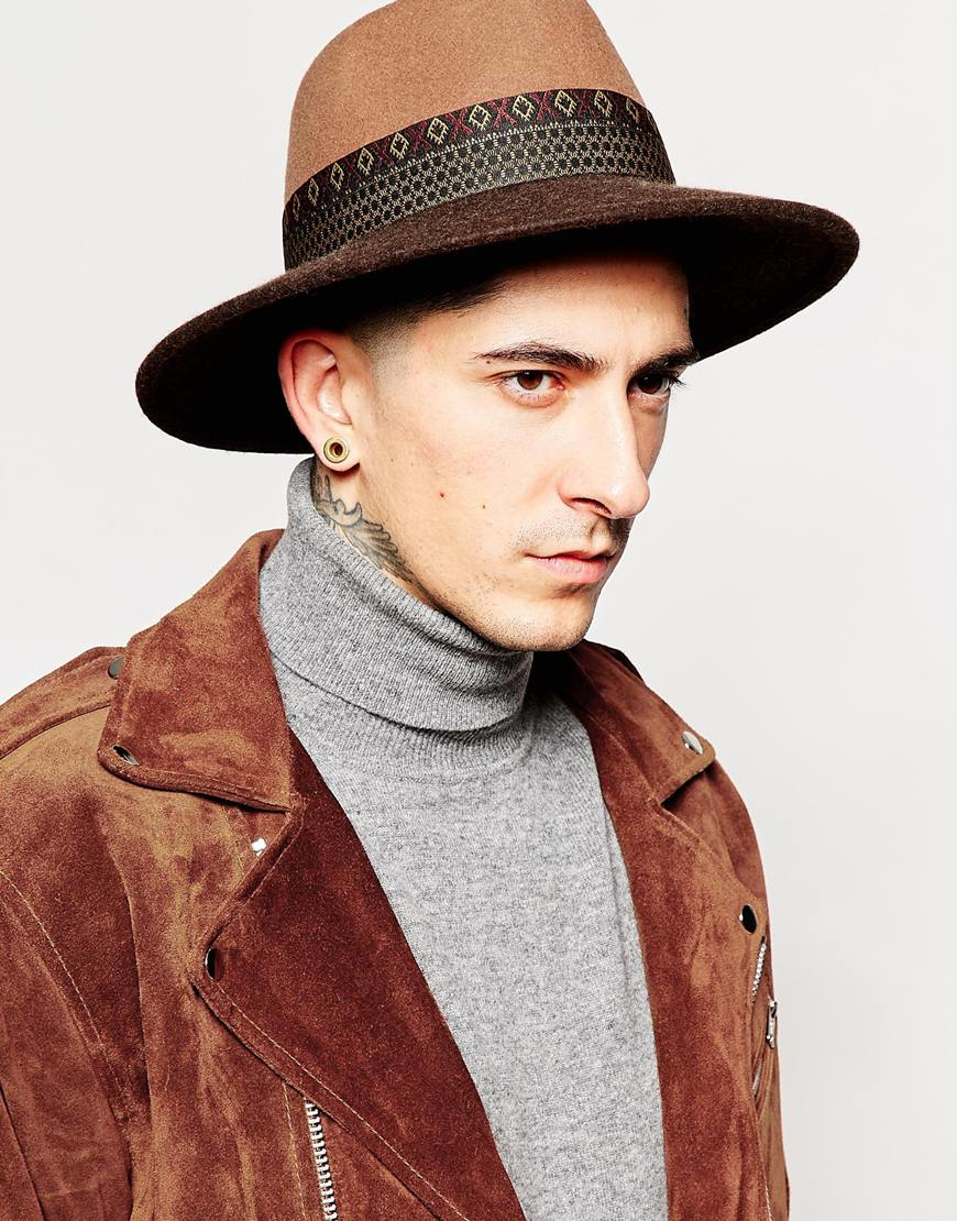 d5dcb3dd28d09 ASOS Wide Brim Fedora Hat In Camel Felt With Aztec Print Band in Brown for  Men - Lyst