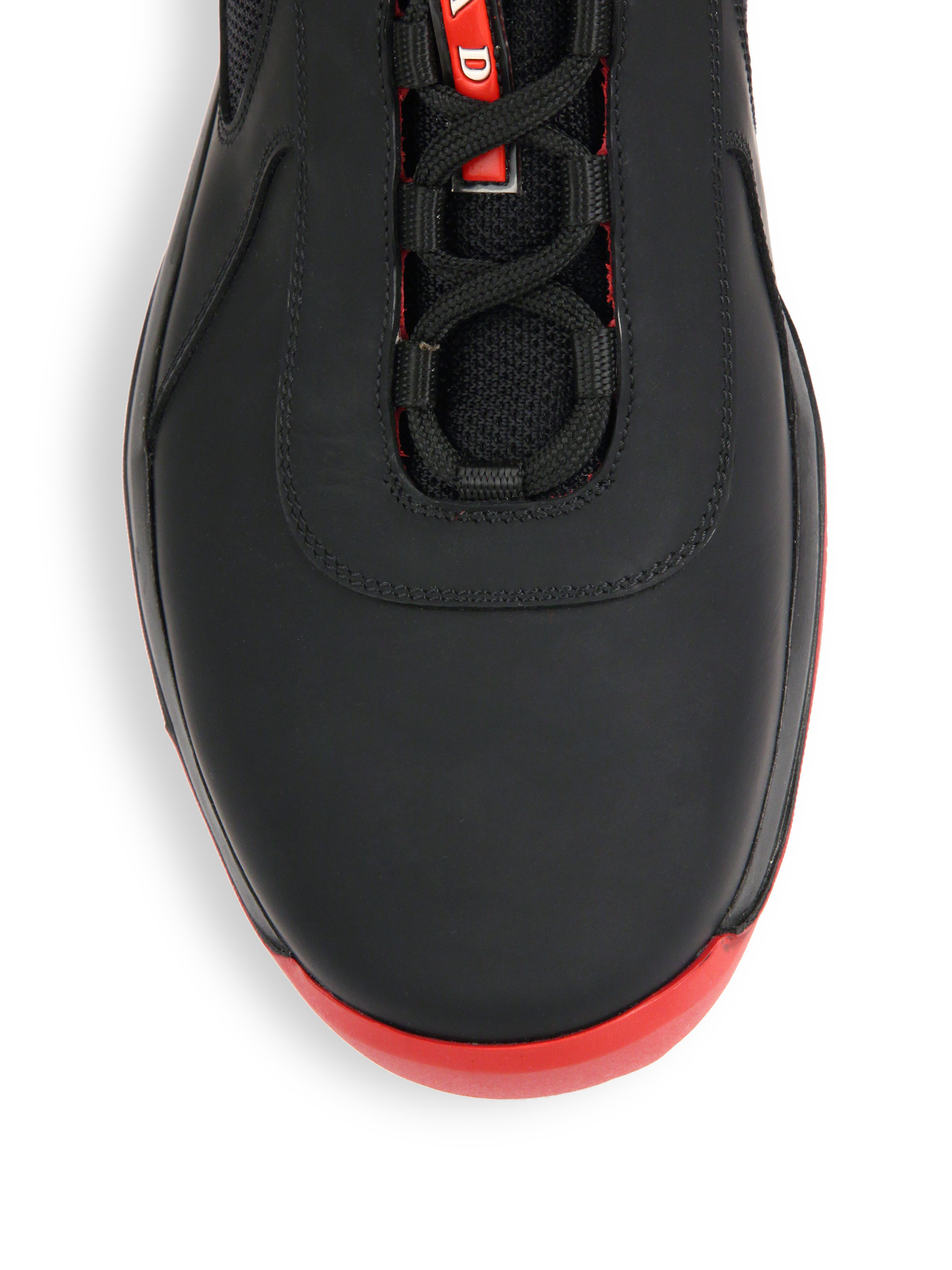 prada knockoffs handbags - Prada Leather Sneakers in Black for Men (black-red) | Lyst