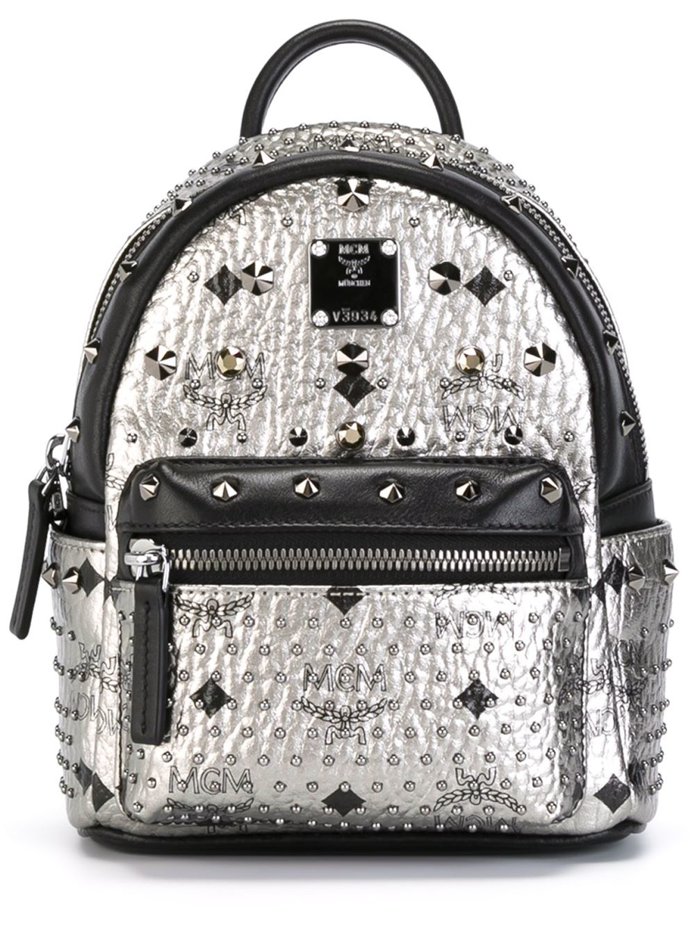 mcm 39 stark 39 small studded backpack in gray grey lyst. Black Bedroom Furniture Sets. Home Design Ideas