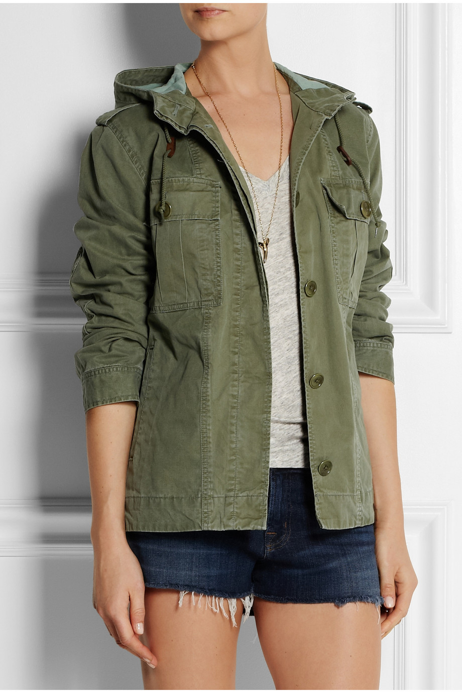 J.crew Hooded Cotton-Twill Jacket in Green | Lyst