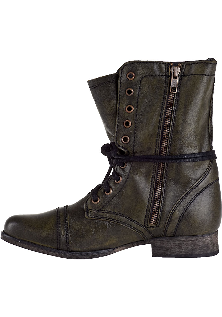 Steve madden Troopa Combat Boot Dark Green Leather in ...