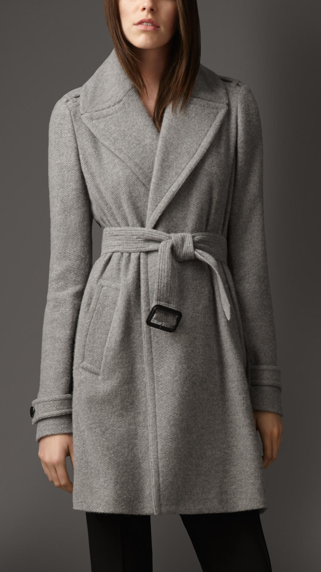 Burberry Cashmere Belted Wrap Coat in Gray | Lyst