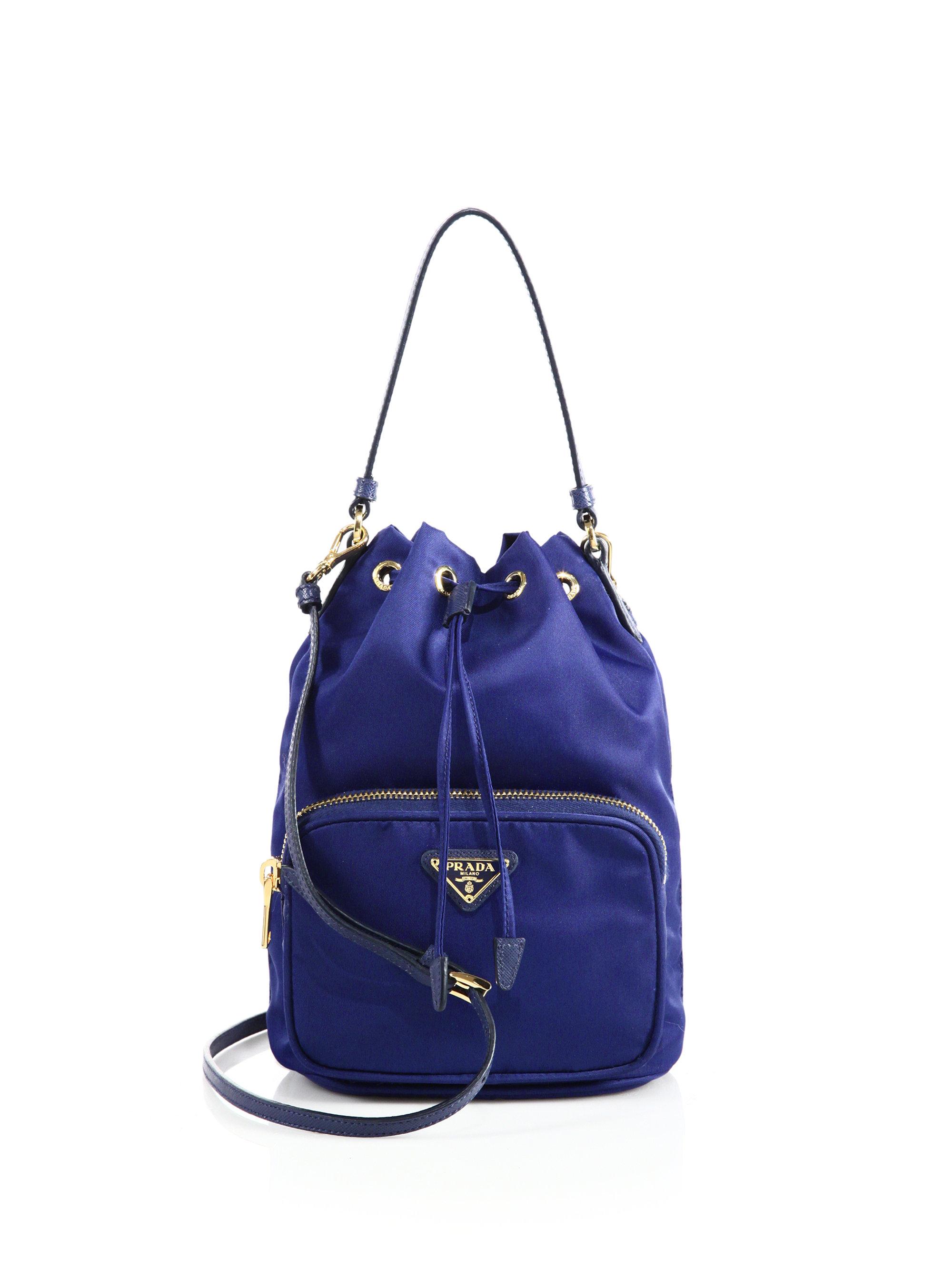 8ec47f65024116 Prada Mini Nylon and Leather Bucket Bag in Blue - Lyst