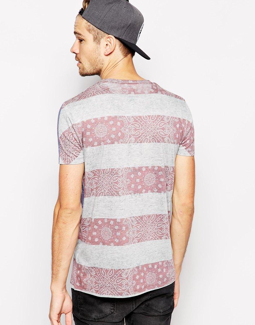 Asos t shirt with usa flag bandana print for men lyst for T shirt printing usa