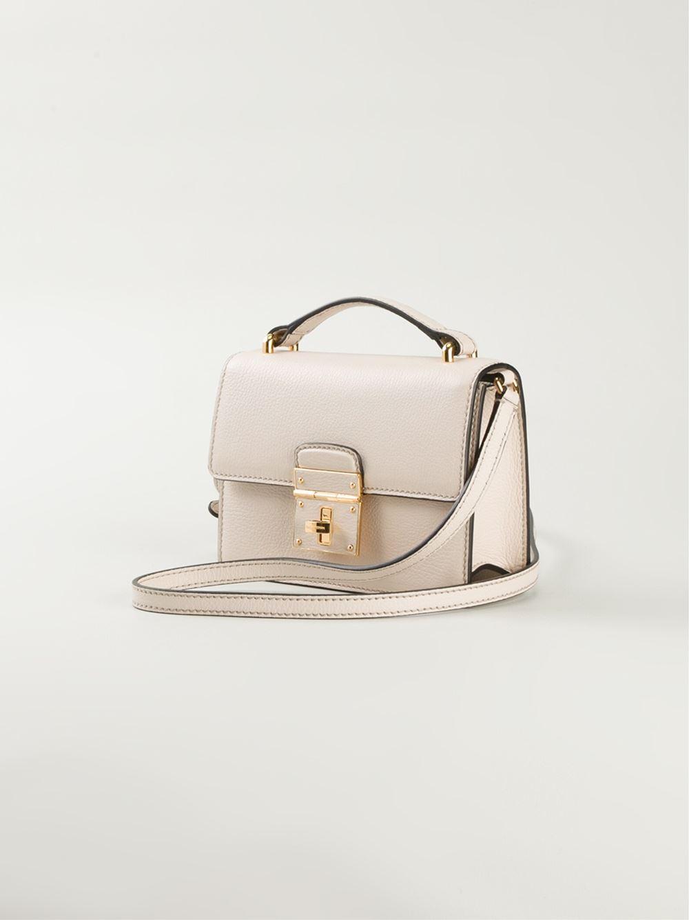e142f2fc6c8a Lyst - Dolce   Gabbana Rosalia Leather Shoulder Bag in Natural