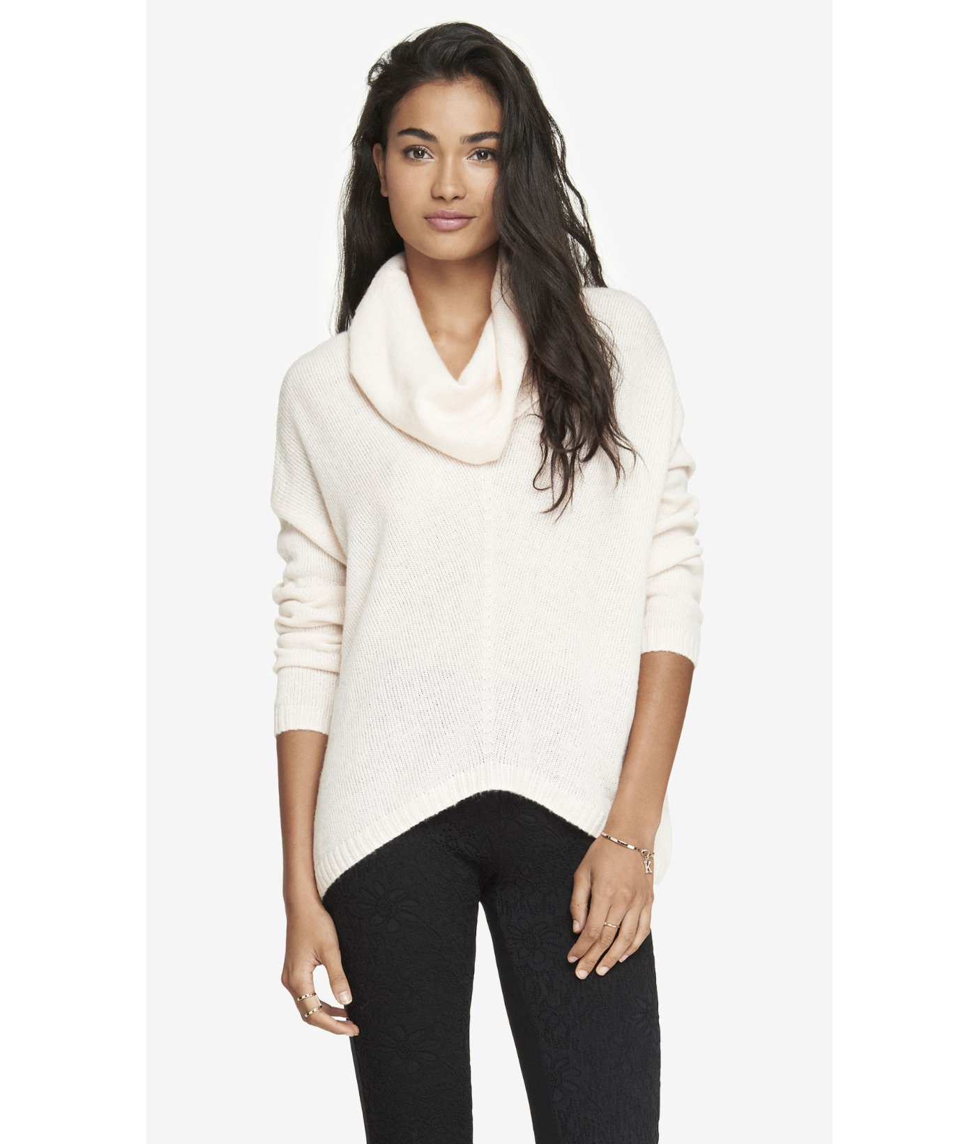 Express Oversized Cowl Neck Sweater In White Lyst