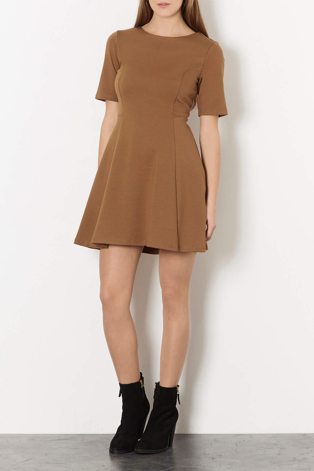 72cfbeefbe70 Lyst - TOPSHOP A Line Smart Skater Dress in Brown