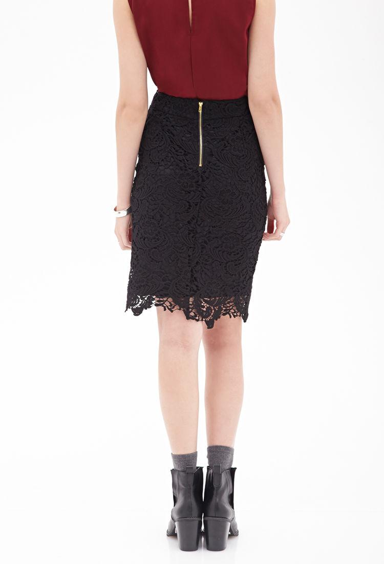 forever 21 crochet pencil skirt in black lyst