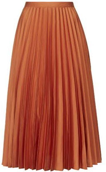 topshop satin pleated midi skirt in orange terracotta