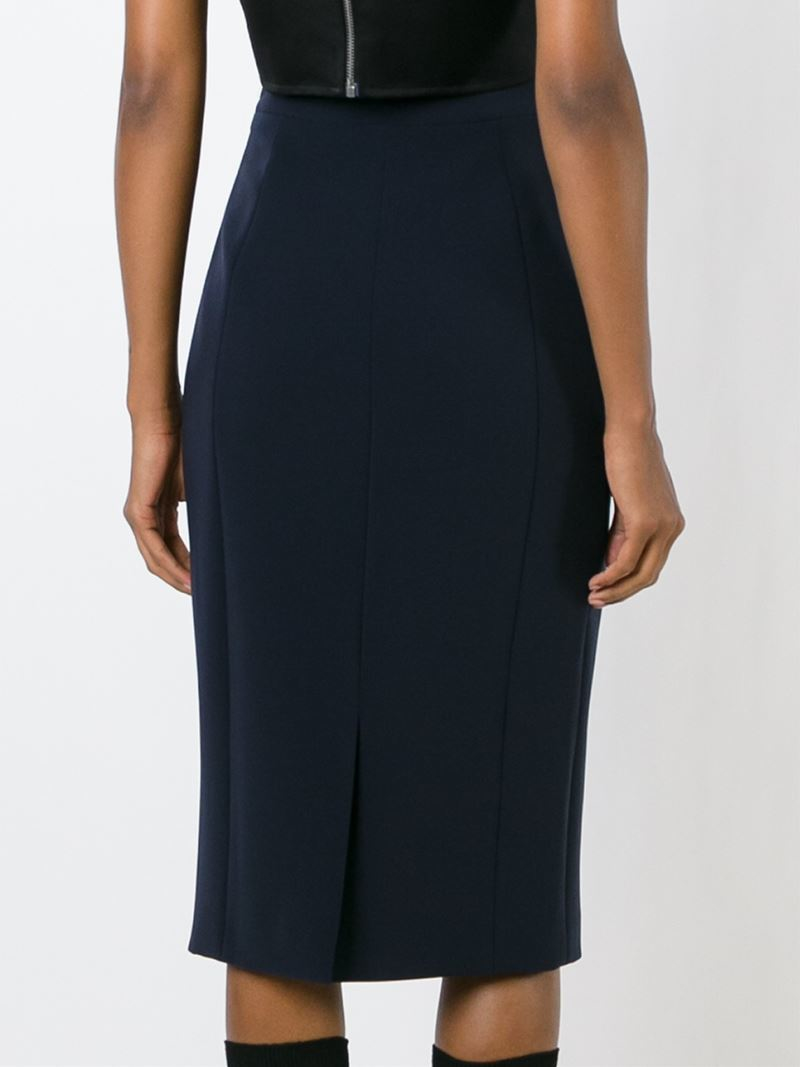 neil barrett midi pencil skirt in blue lyst
