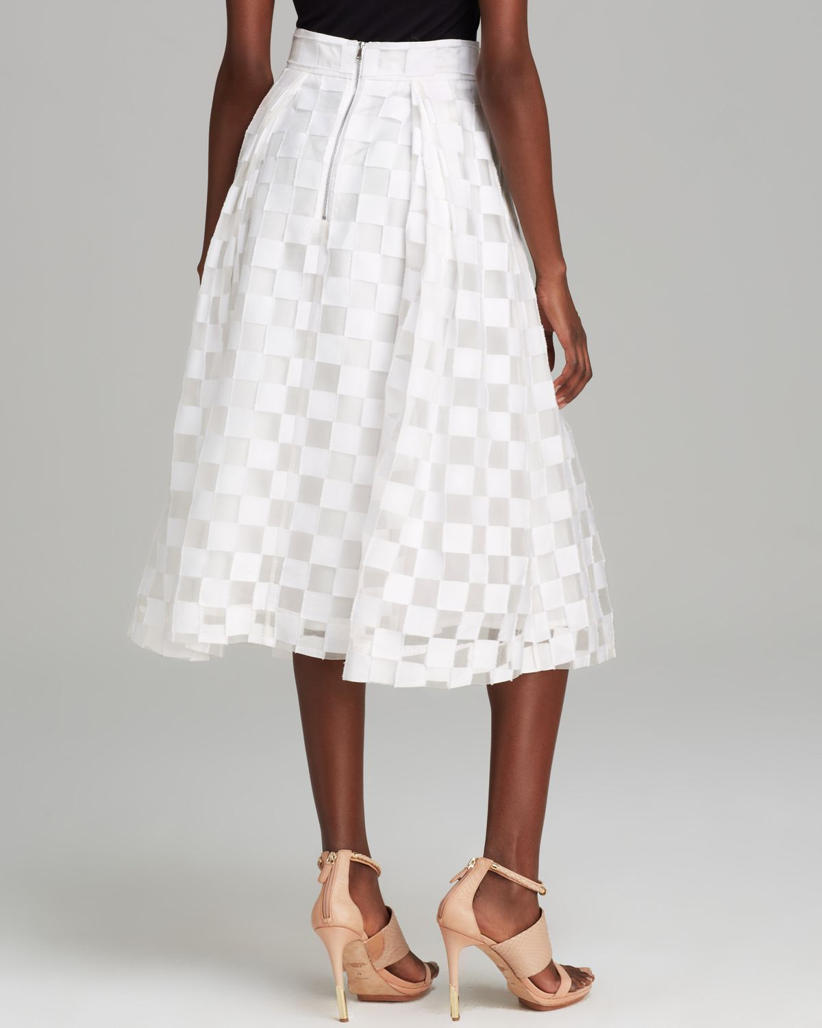 Milly Skirt Full Midi Square Fil Coupe in White | Lyst