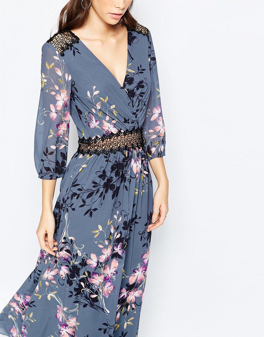 9d8f9235b7 Little Mistress Floral Print And Lace Maxi Dress - Multi in Blue - Lyst