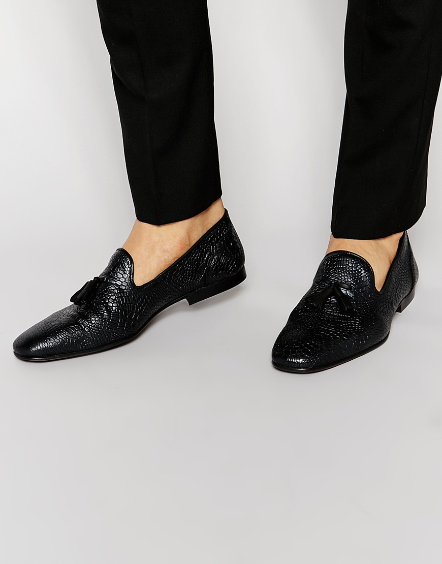 a1056dba067 Lyst - ASOS Tassel Loafers In Black Leather With Crocodile Effect in ...