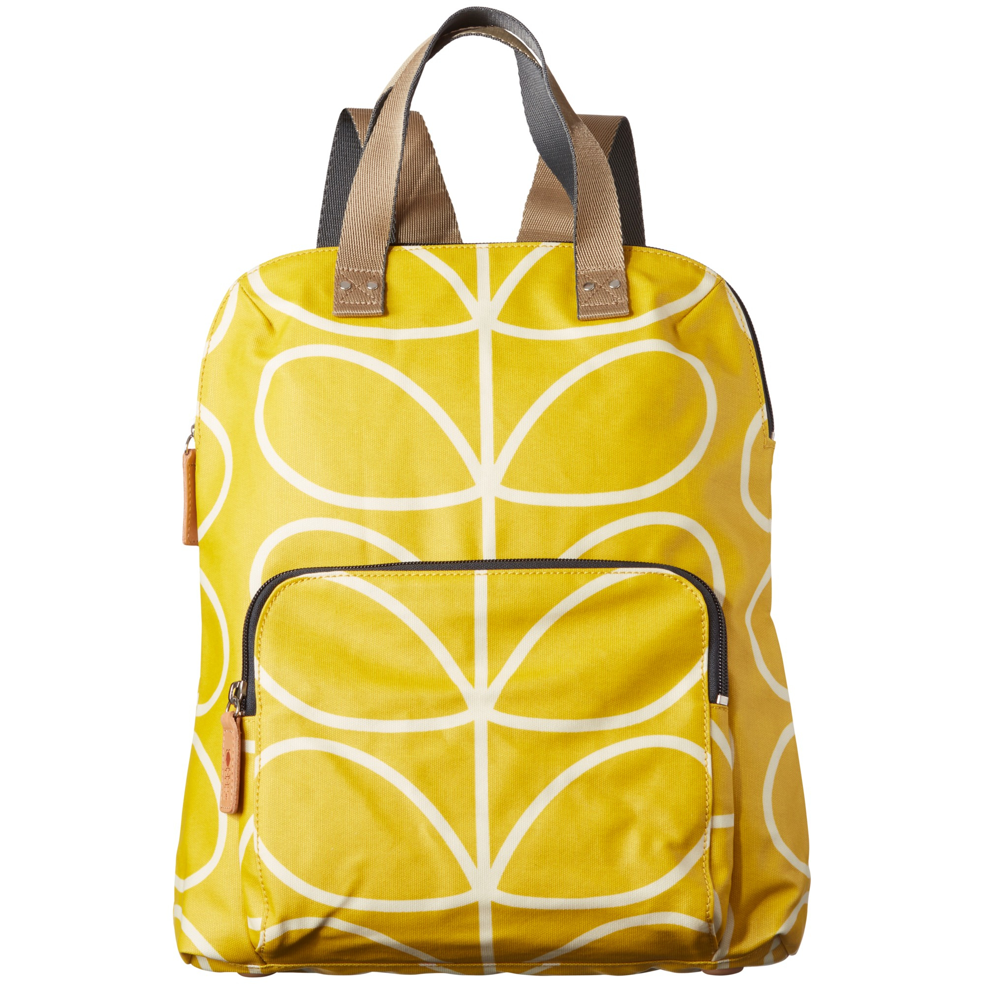 Orla Kiely Matte Laminated Backpack In Yellow Lyst