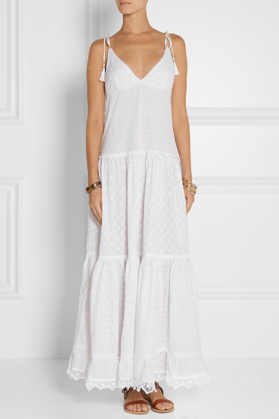 White tiered maxi dress