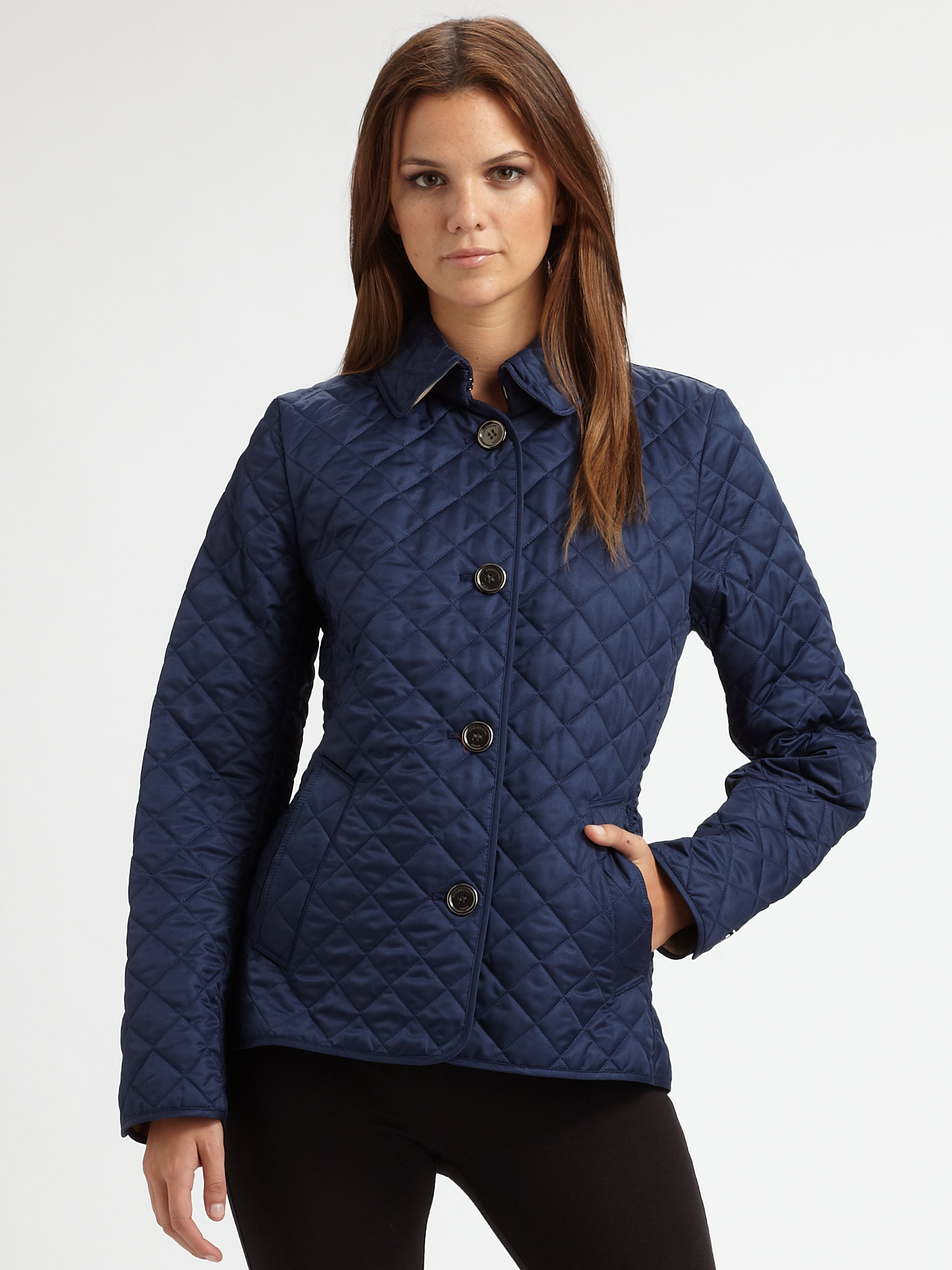 Lyst - Burberry brit 'copford' Quilted Jacket in Blue : copford quilted jacket - Adamdwight.com
