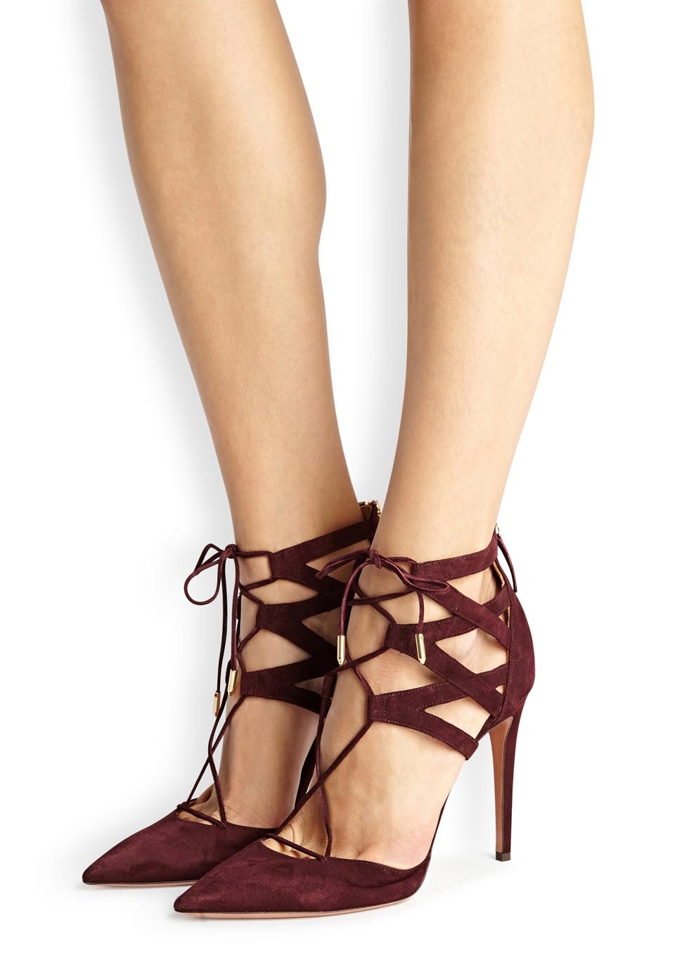 Lyst Aquazzura Belgravia Dark Burgundy Suede Pumps In Purple