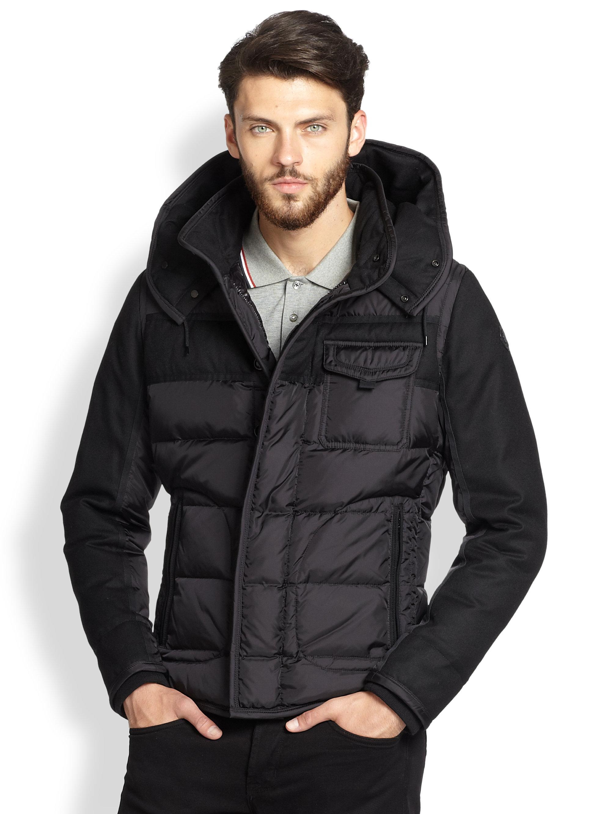 Moncler Ryan Wool Sleeve Puffer Jacket In Black For Men Lyst