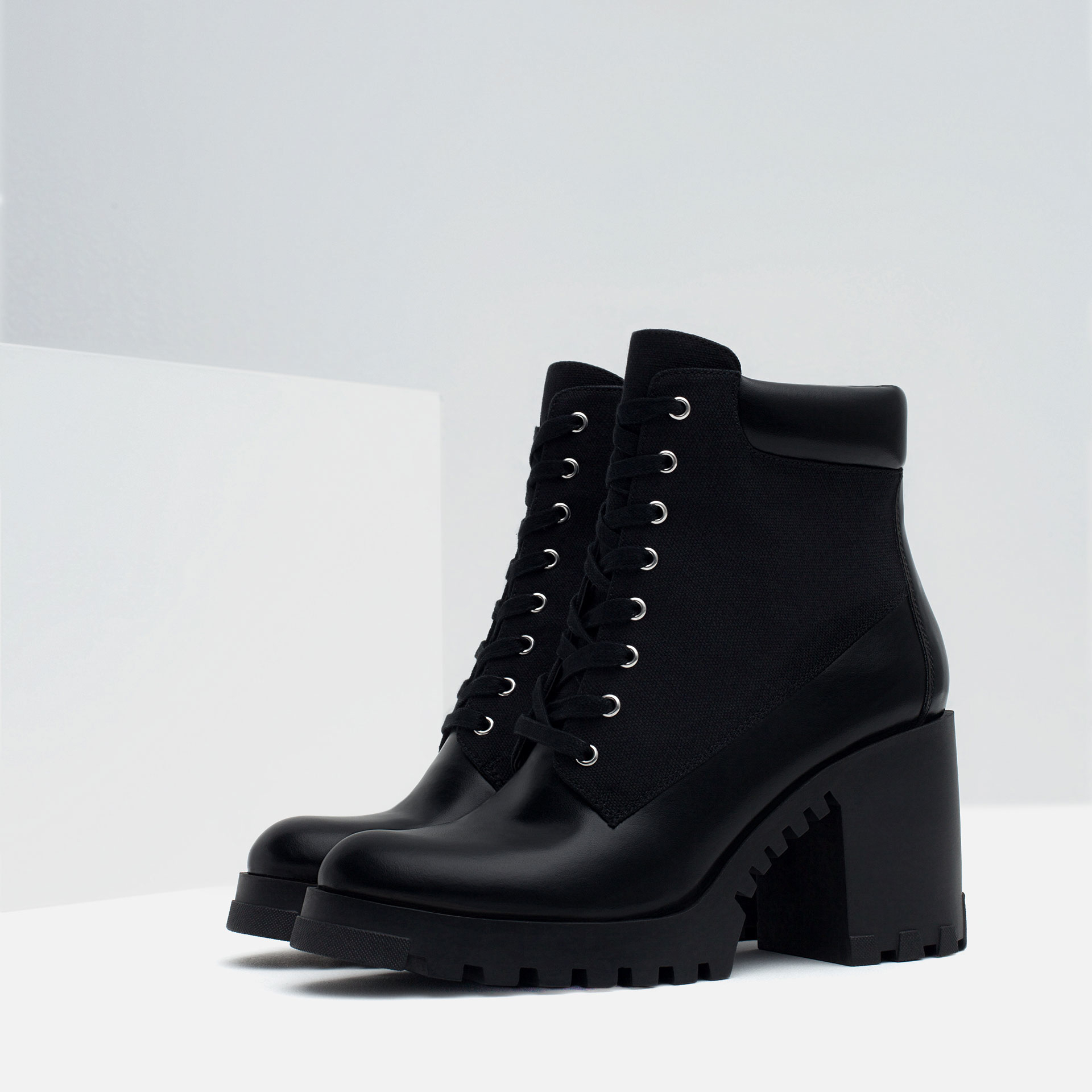 Zara Lace-up High Heel Ankle Boots in Black | Lyst