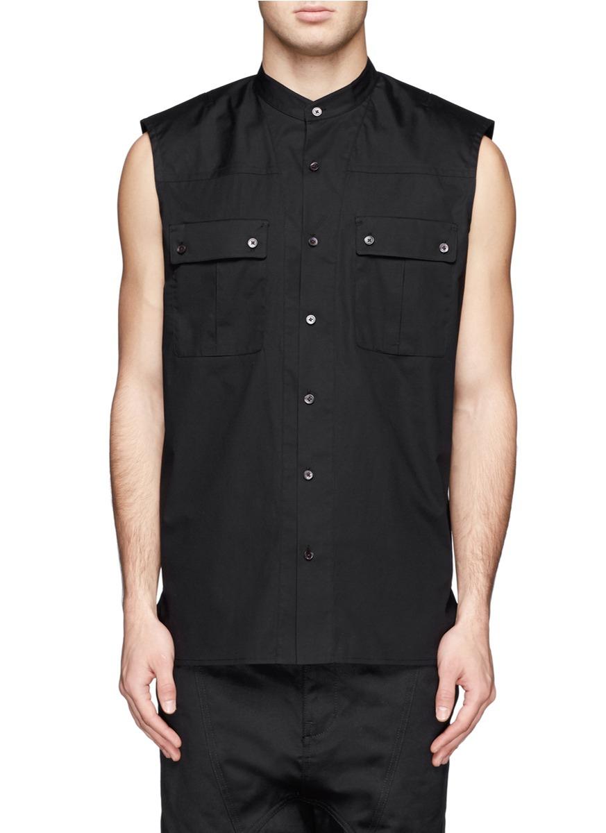 Lyst helmut lang sleeveless collar shirt in black for men for Sleeveless white shirt with collar