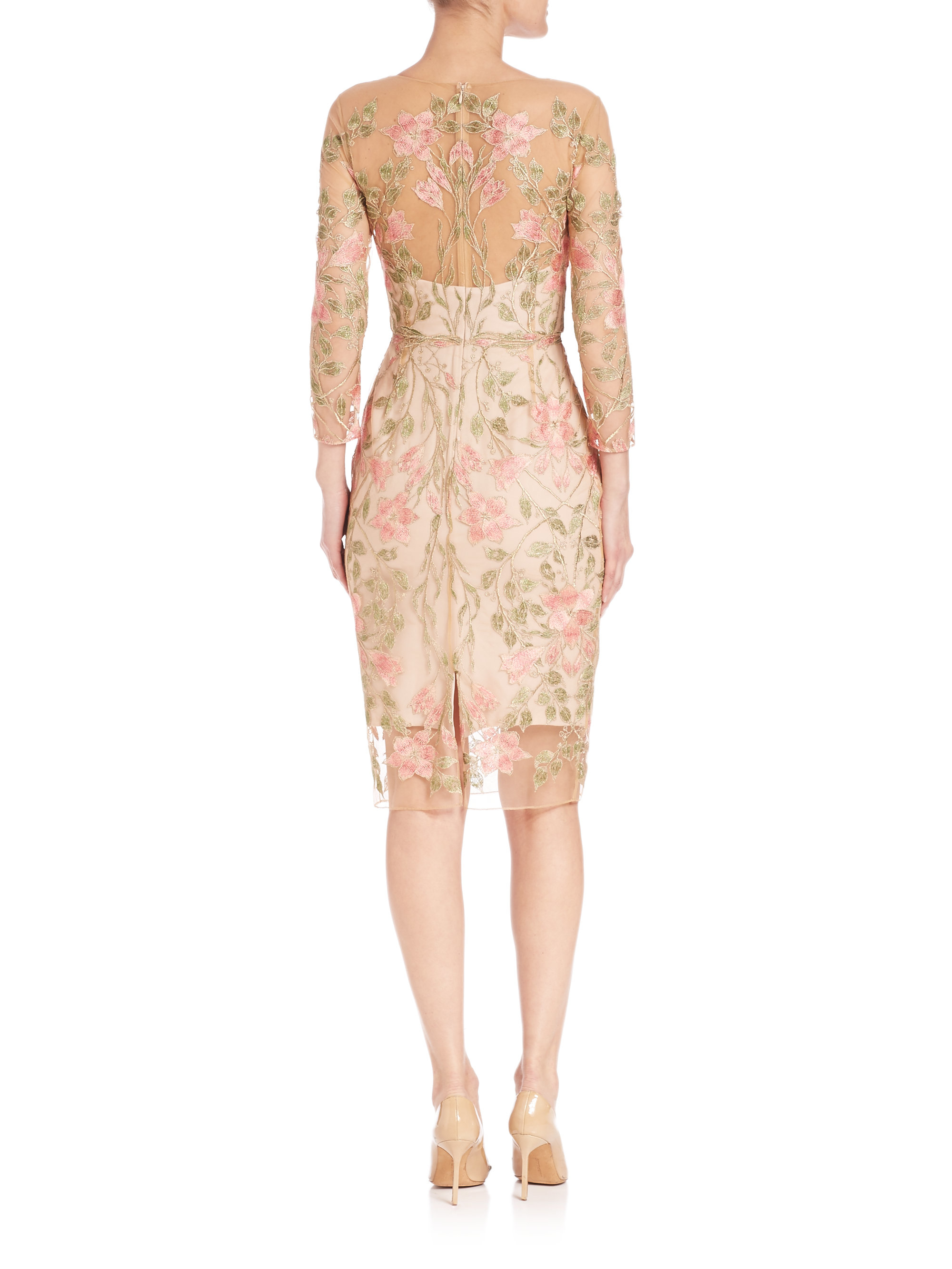 Notte by marchesa floral embroidered cocktail dress in