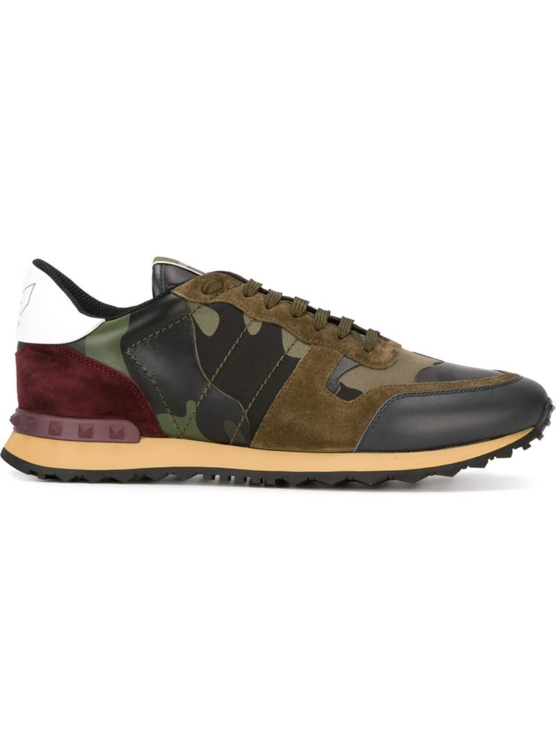 valentino rockrunner paneled camouflage low top sneakers in green for men lyst. Black Bedroom Furniture Sets. Home Design Ideas