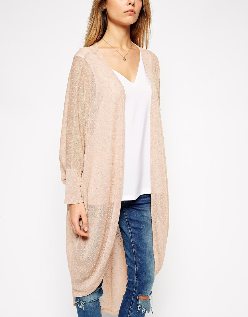 Asos Cocoon Cardigan In Longline in Natural | Lyst