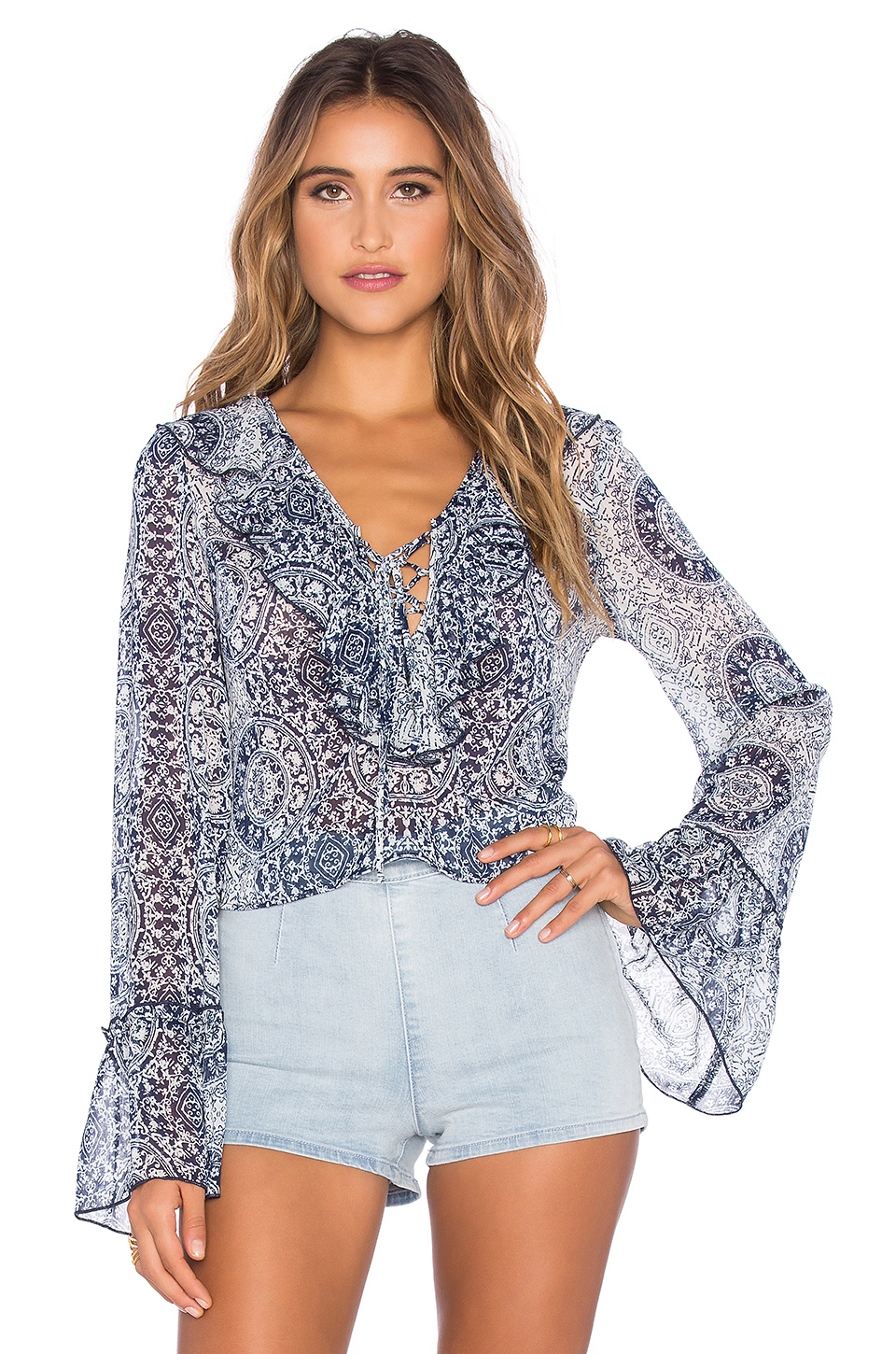dd88b7e548ad Lyst - Band Of Gypsies Printed Ruffle Front Blouse in White