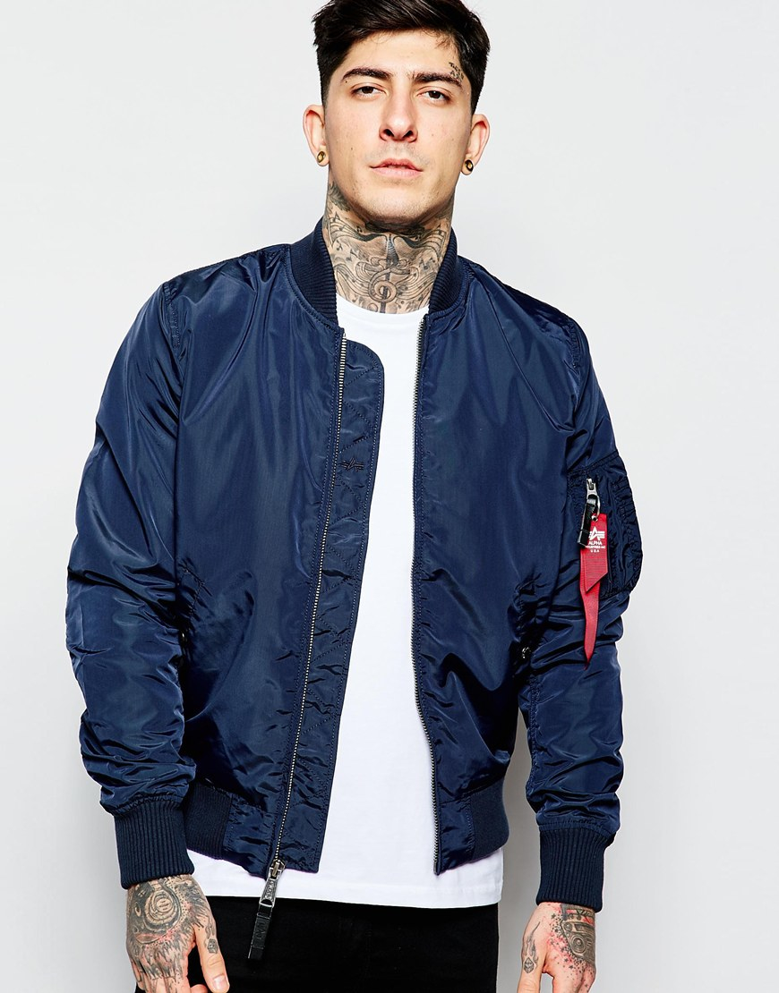 Alpha industries Ma-1 Bomber Jacket Slim Fit in Blue for Men | Lyst