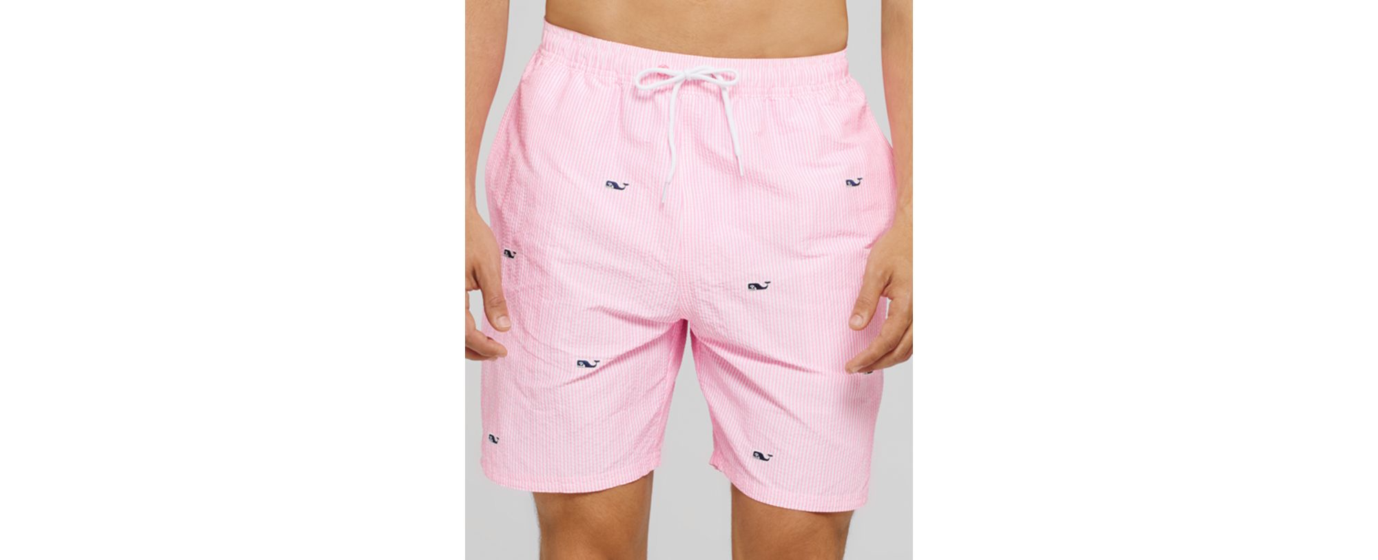 d3115f65d068a Lyst - Vineyard Vines Whale Embroidered Chappy Swim Trunks in Pink ...