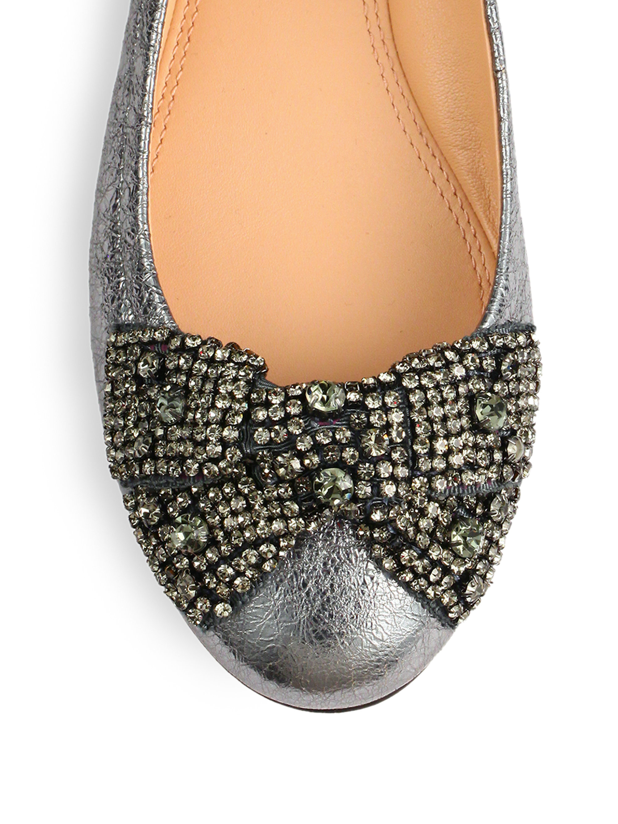 Lyst Tory Burch Bonneville Leather Embellished Bow Flats