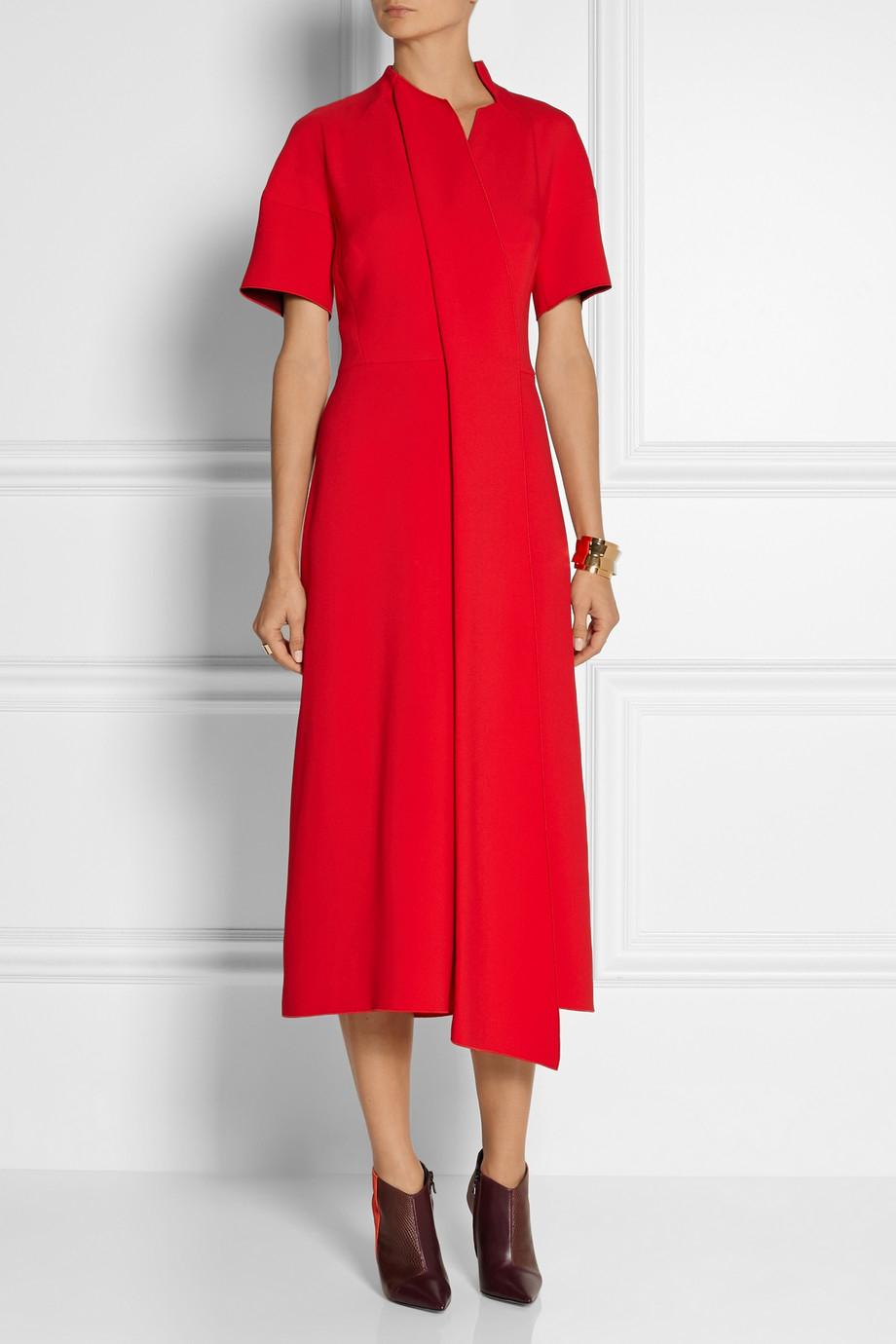 Lyst Victoria Beckham Asymmetric Crepe Midi Dress In Red