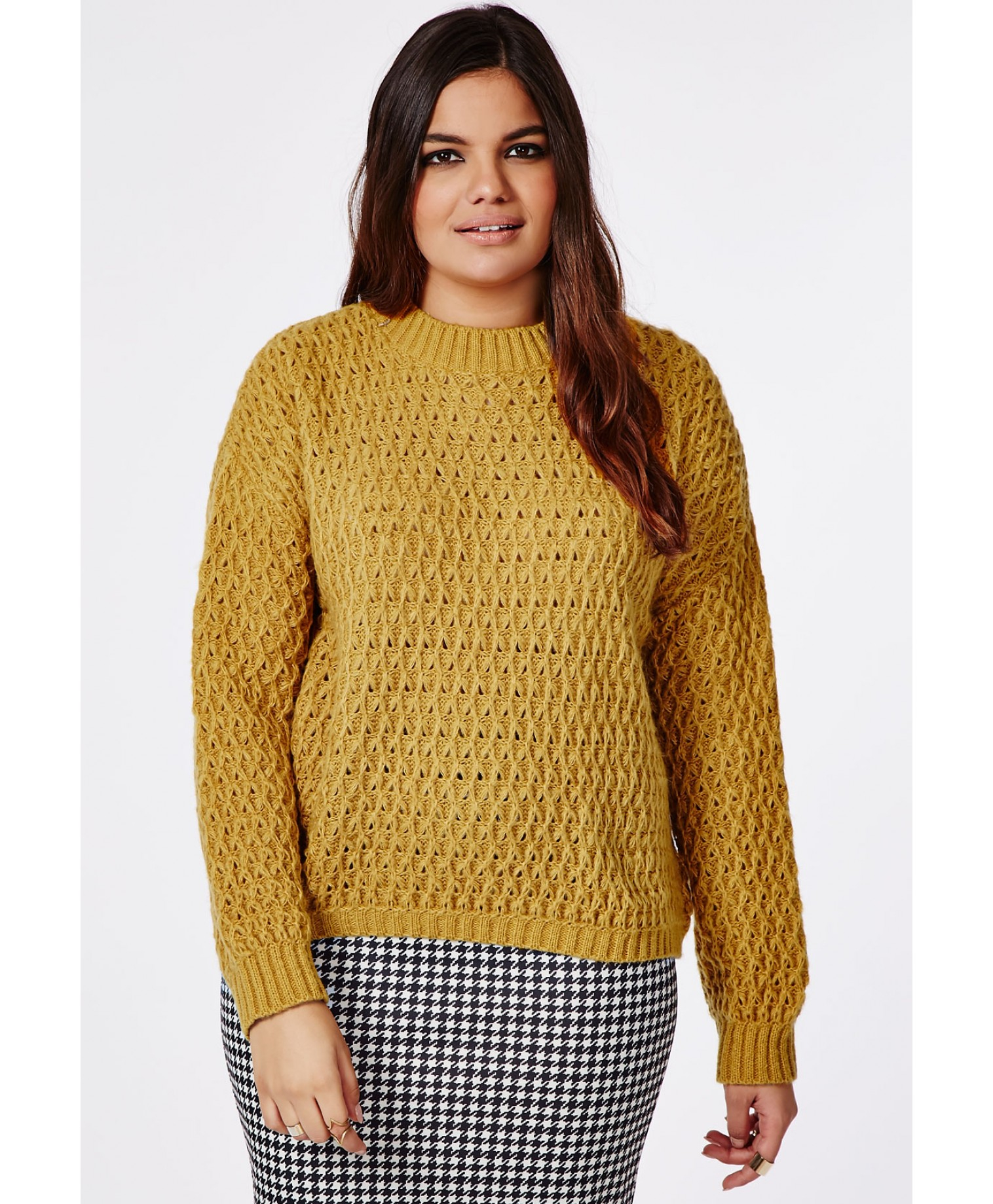 Missguided Plus Size Chunky Knit Jumper Mustard in Natural | Lyst