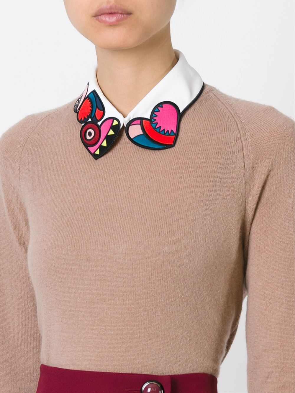 Red Valentino Embroidered Heart Collar In Multicolor