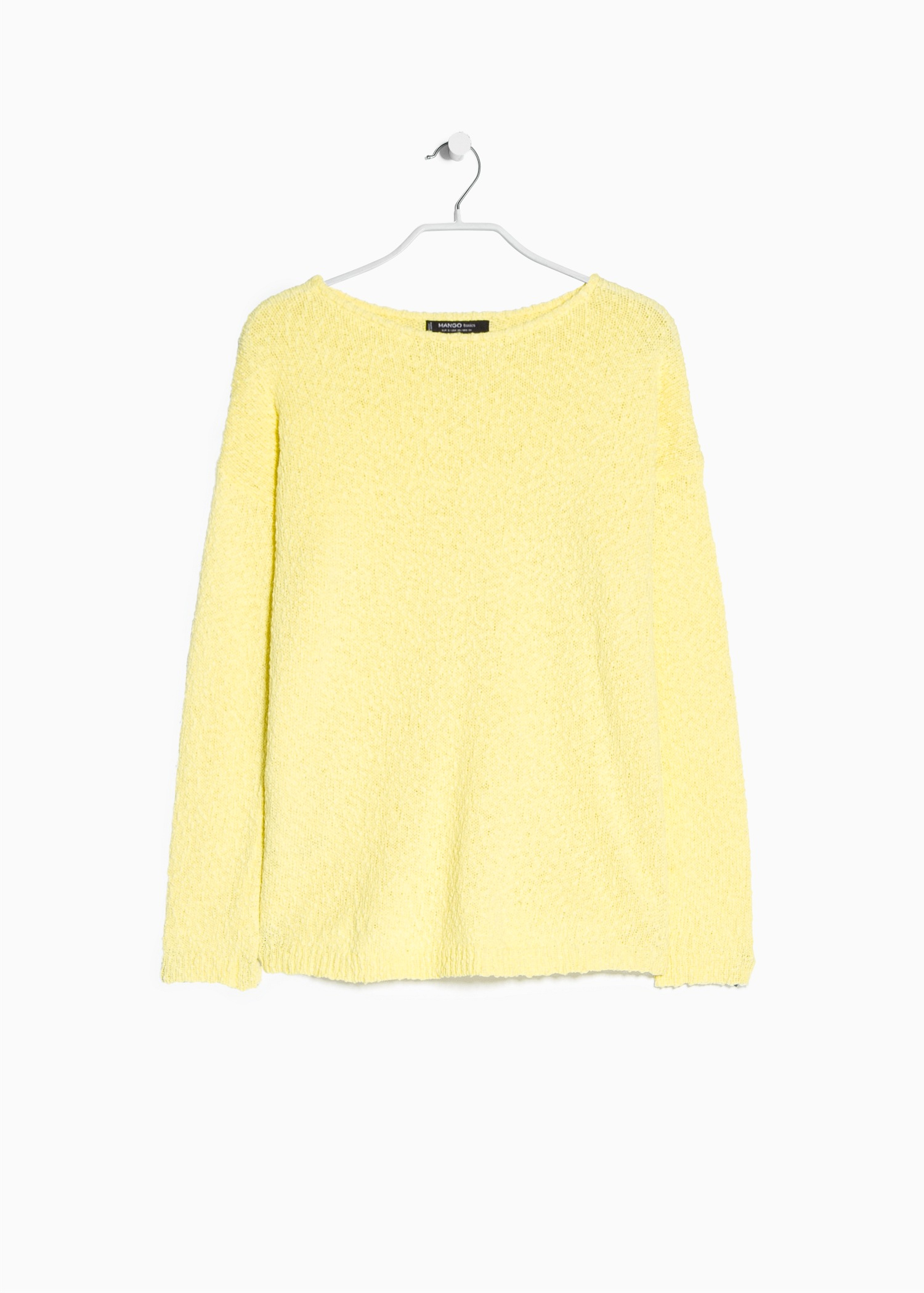 Mango Textured Cotton Sweater in Yellow | Lyst