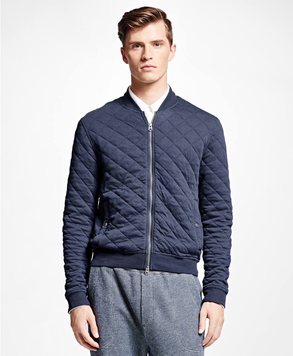 Brooks brothers Quilted Bomber Jacket in Blue for Men | Lyst : navy quilted bomber jacket - Adamdwight.com