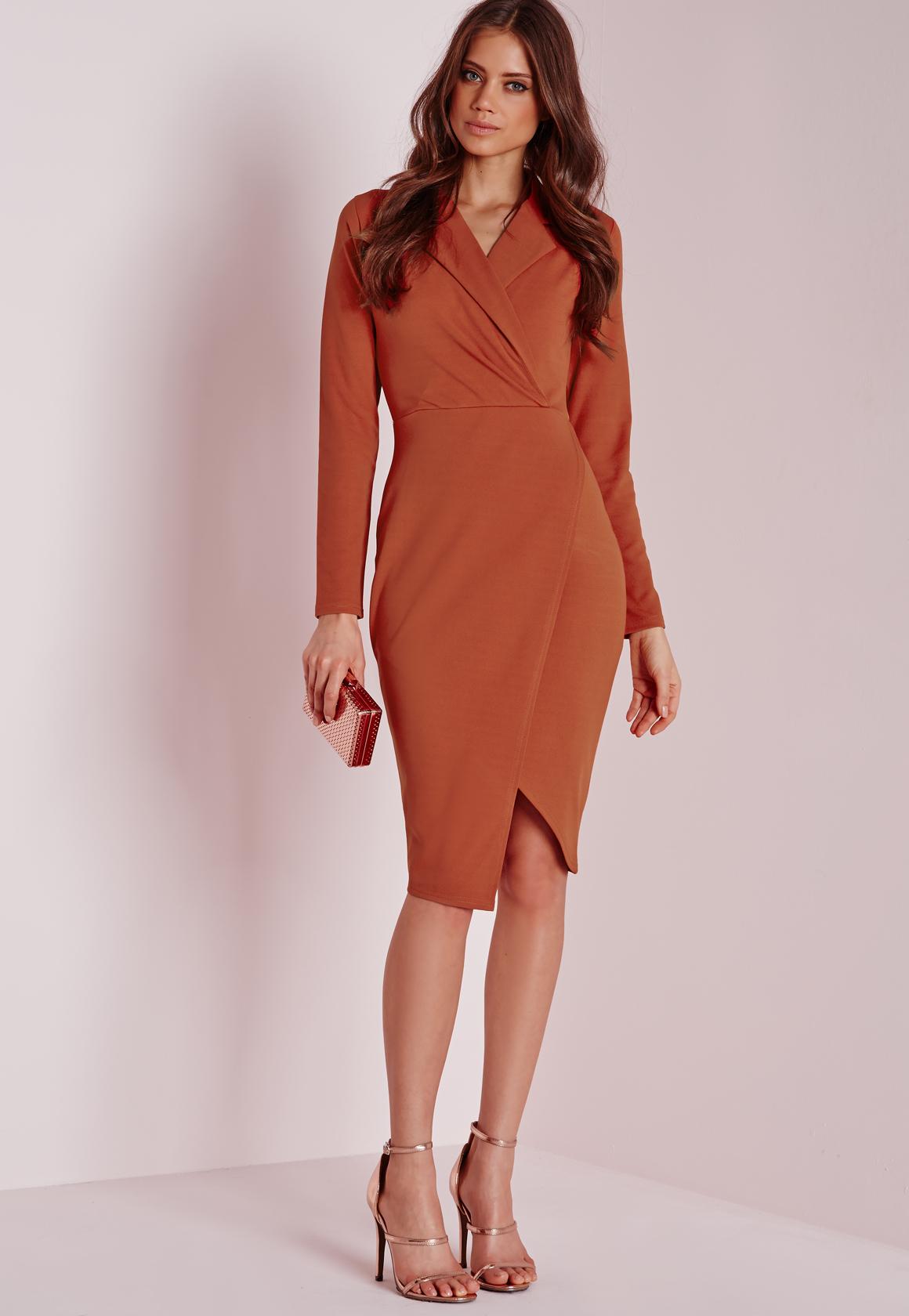 Missguided Wrap Over Midi Dress Rust In Orange Lyst