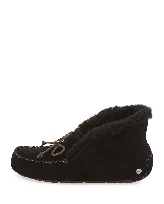 4e6d420574f Lyst - UGG Alena Collared-Tie Sheepskin Slipper in Black