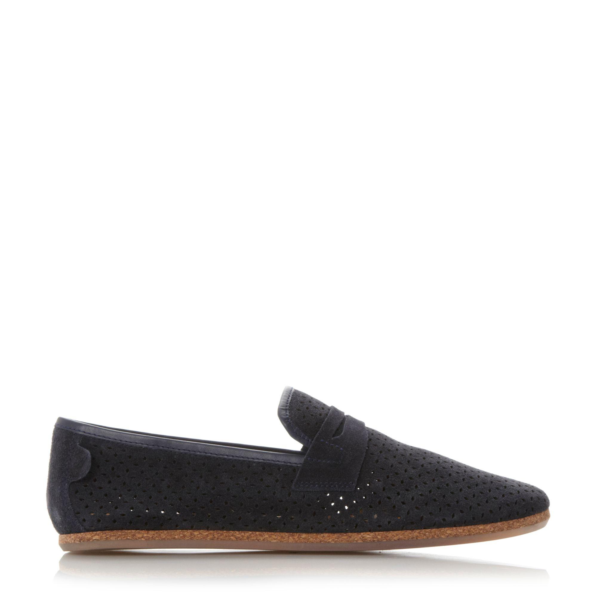 h by hudson platt perf suede loafers in black for men lyst. Black Bedroom Furniture Sets. Home Design Ideas