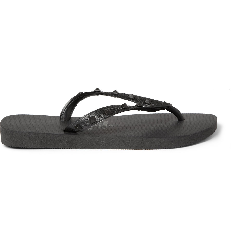 55a25fa476fe Valentino Havaianas Studded Rubber Flip Flops in Black for Men