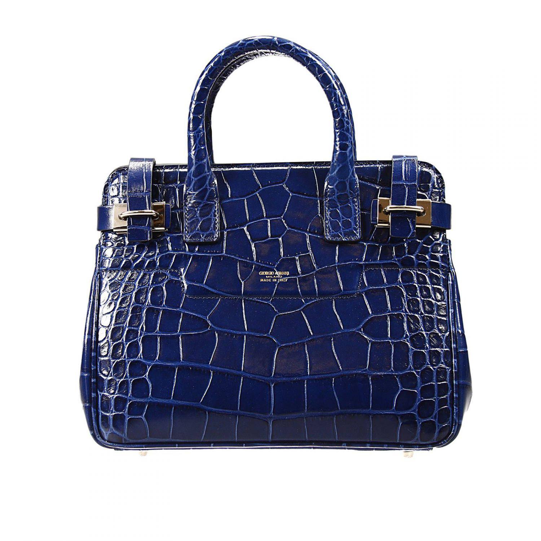 67ddb37bcce0 Lyst - Giorgio Armani Handbag Bag Dakar Small Print Croco Print in Blue