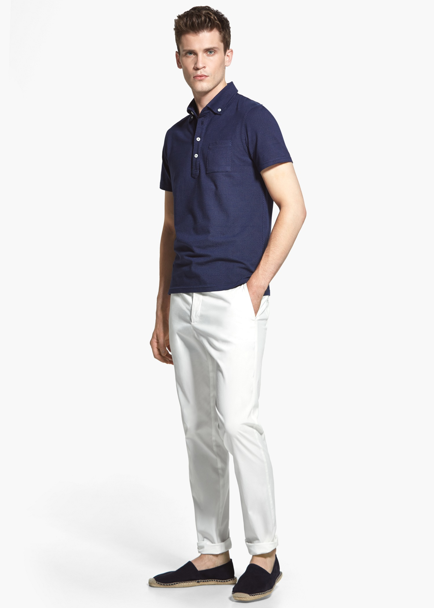 Lyst - Mango Cotton Chinos in White for Men 40f520977d80b