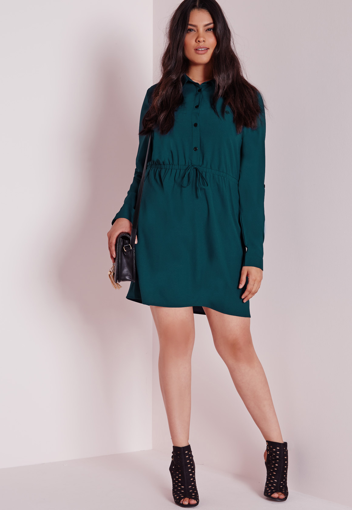 Lyst Missguided Plus Size Drawstring Waist Shirt Dress Teal In Blue