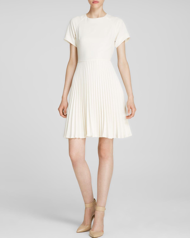 Trina turk Dress - Estrella Short Sleeve Pleated Skirt in White  Lyst