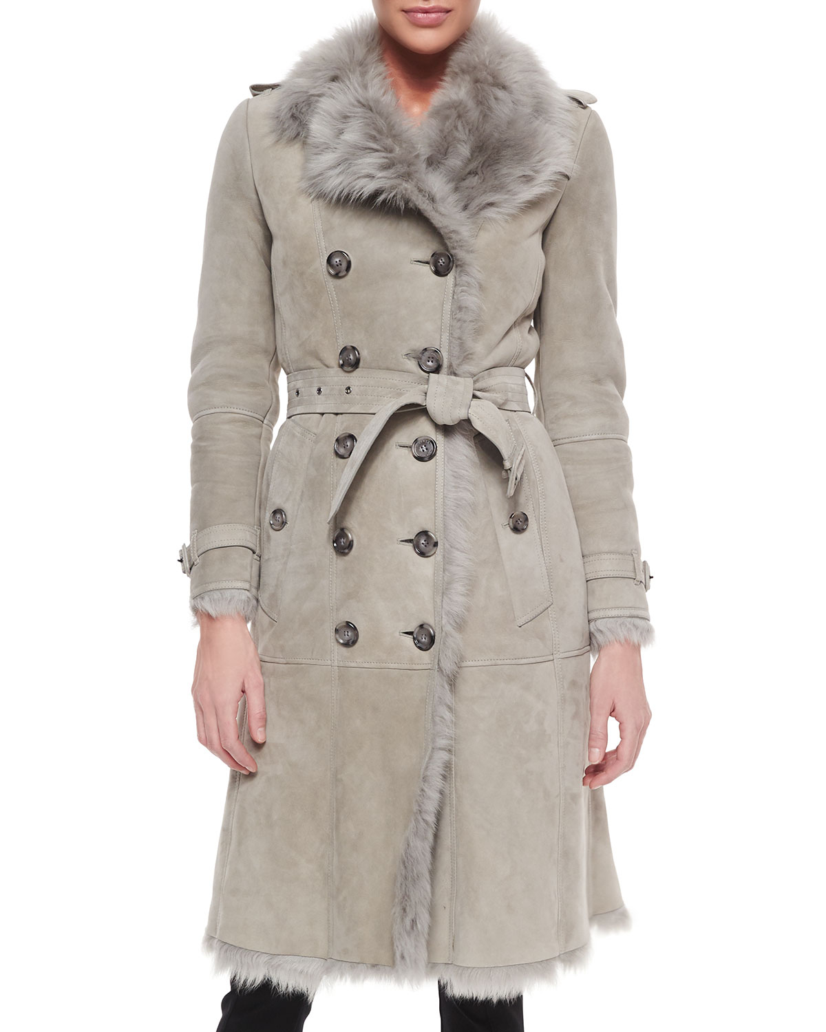 Burberry Double-Breasted Shearling Trench Coat in Gray | Lyst