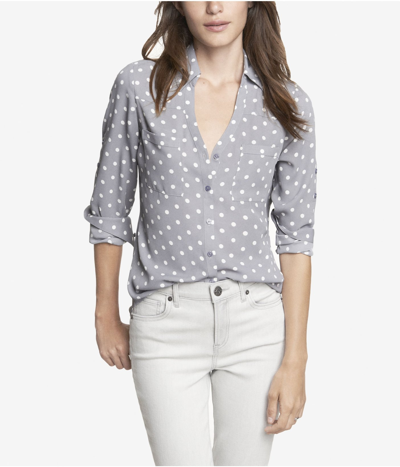 Express Polka Dot Convertible Sleeve Portofino Shirt In Gray Lyst