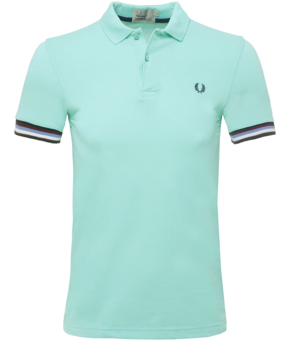 Stussy bradley wiggins striped cuff polo shirt in green for Mint color polo shirt