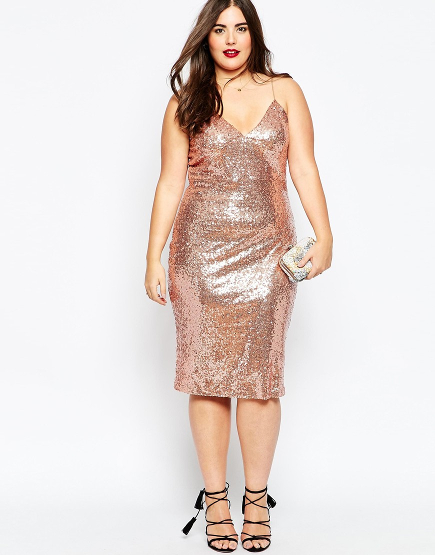 Lyst - Club l Plus Size Cami Dress In Sequins in Pink